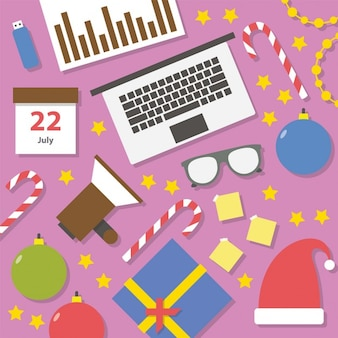 Flat business christmas icons