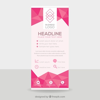 Flat business roll up with geometric shapes