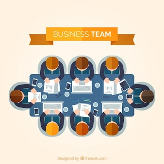 Flat business team in a meeting