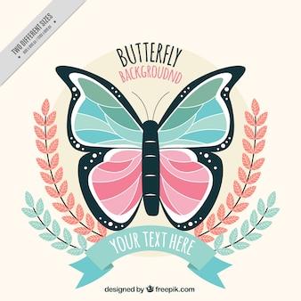 パステルカラーのフラット蝶の背景