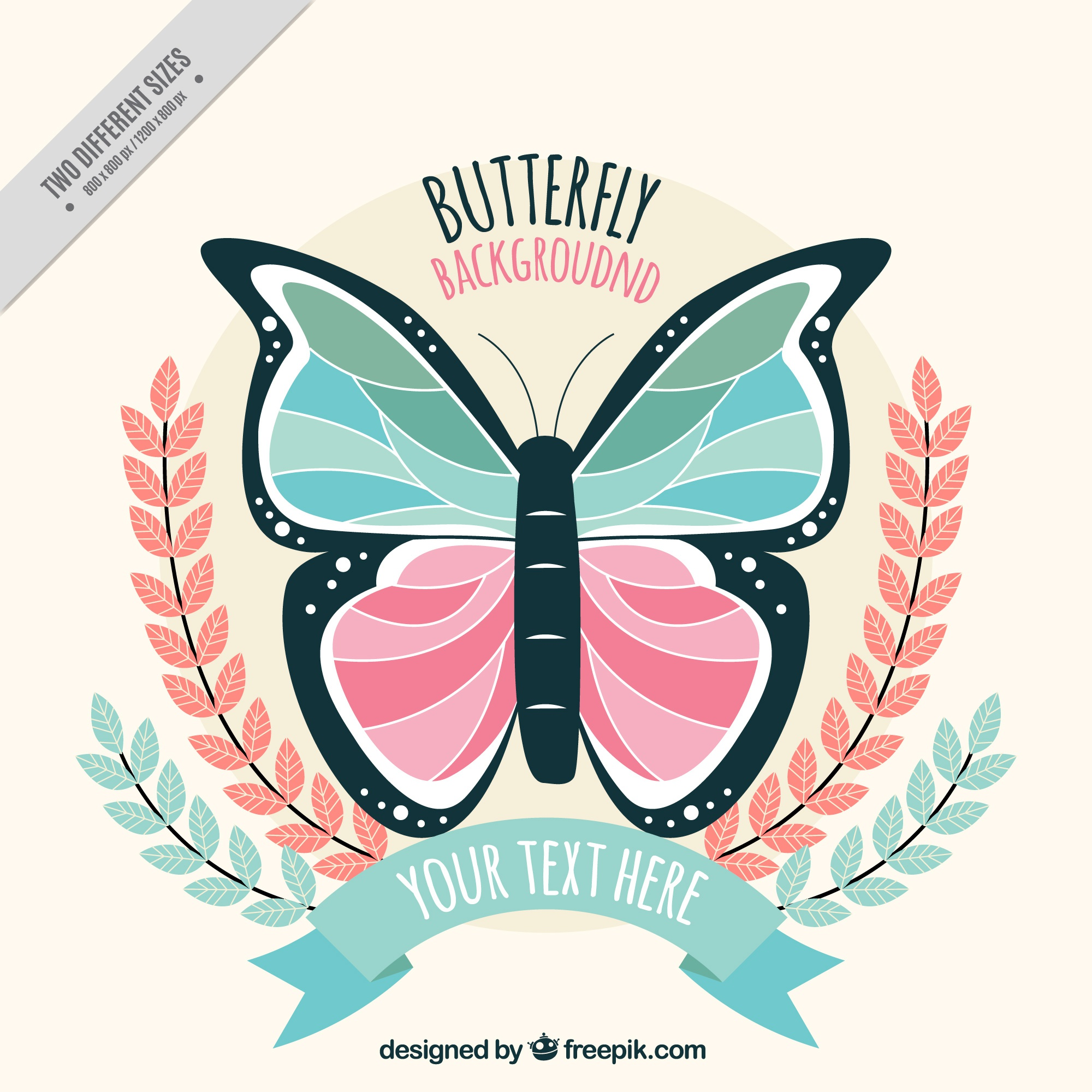 Flat butterfly background in pastel colors