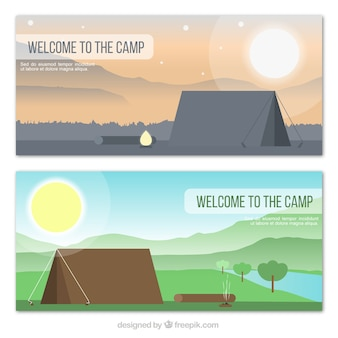 Flat camping tents in the countryside banners