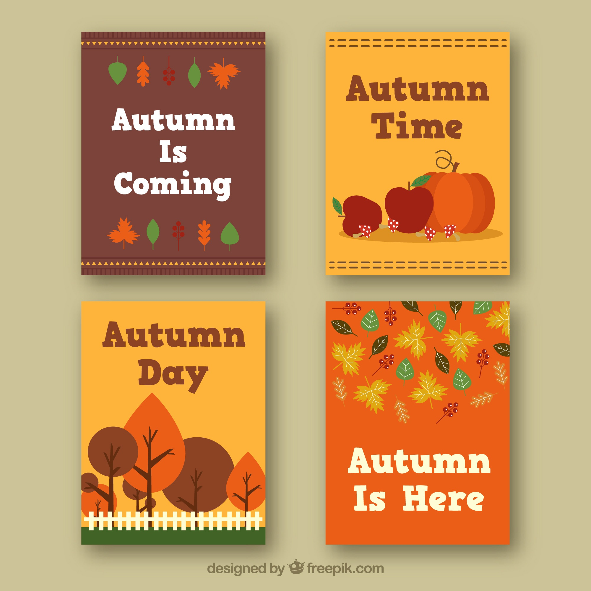 Flat card collection with autumn elements