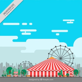 Flat carnival background with marquee and ferris wheels