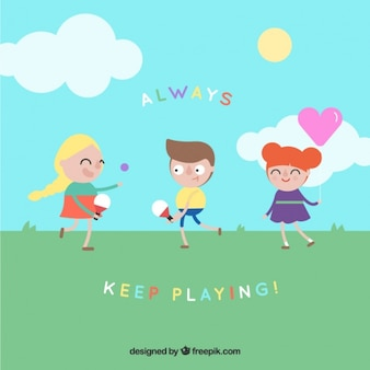 Flat children playing at a field background