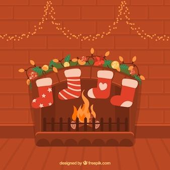Flat christmas background with chimney