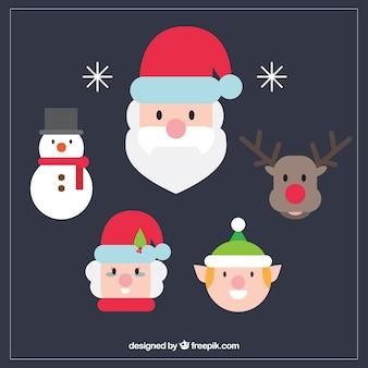 Flat Christmas Characters Set