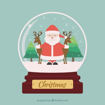 Flat Christmas Globe with Santa Claus