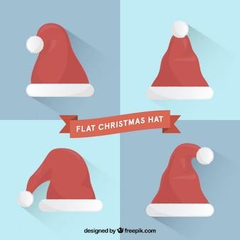 Flat christmas hats