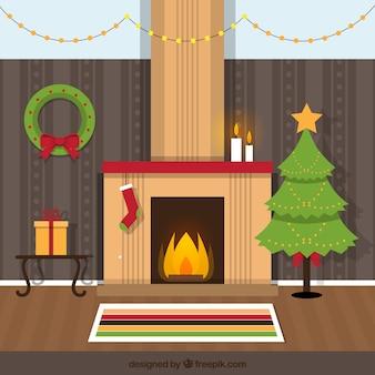 Flat Christmas Room