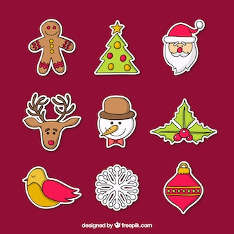 Flat Christmas Stickers Collection