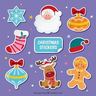 Flat Christmas Stickers Set