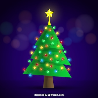 Flat christmas tree with colored lights decoration