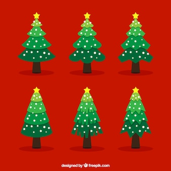 Flat christmas trees with yellow stars