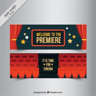Flat cinema banners with red curtains and seats