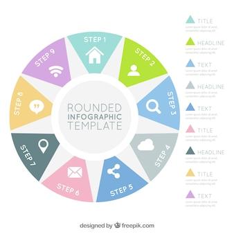 平坦な円形のインフォグラフィックと9つのステップ