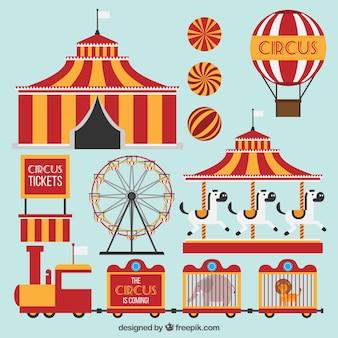 Flat circus amusement rides