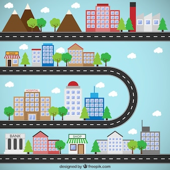 Flat Cities with Roads