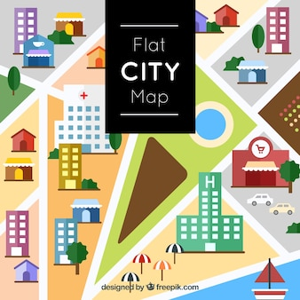 Flat city map design