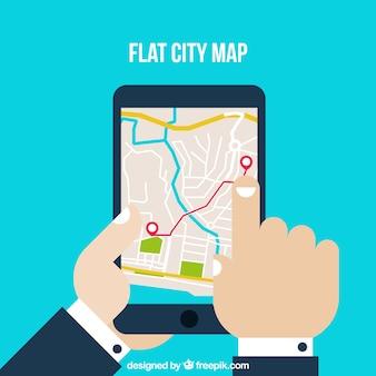 Flat city map on ipad screen
