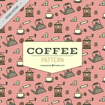 Flat coffee pattern with pink background