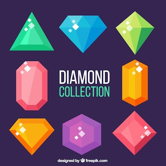 Flat collection of colored crystal gems