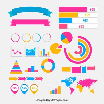 Flat collection of colored elements for infographics