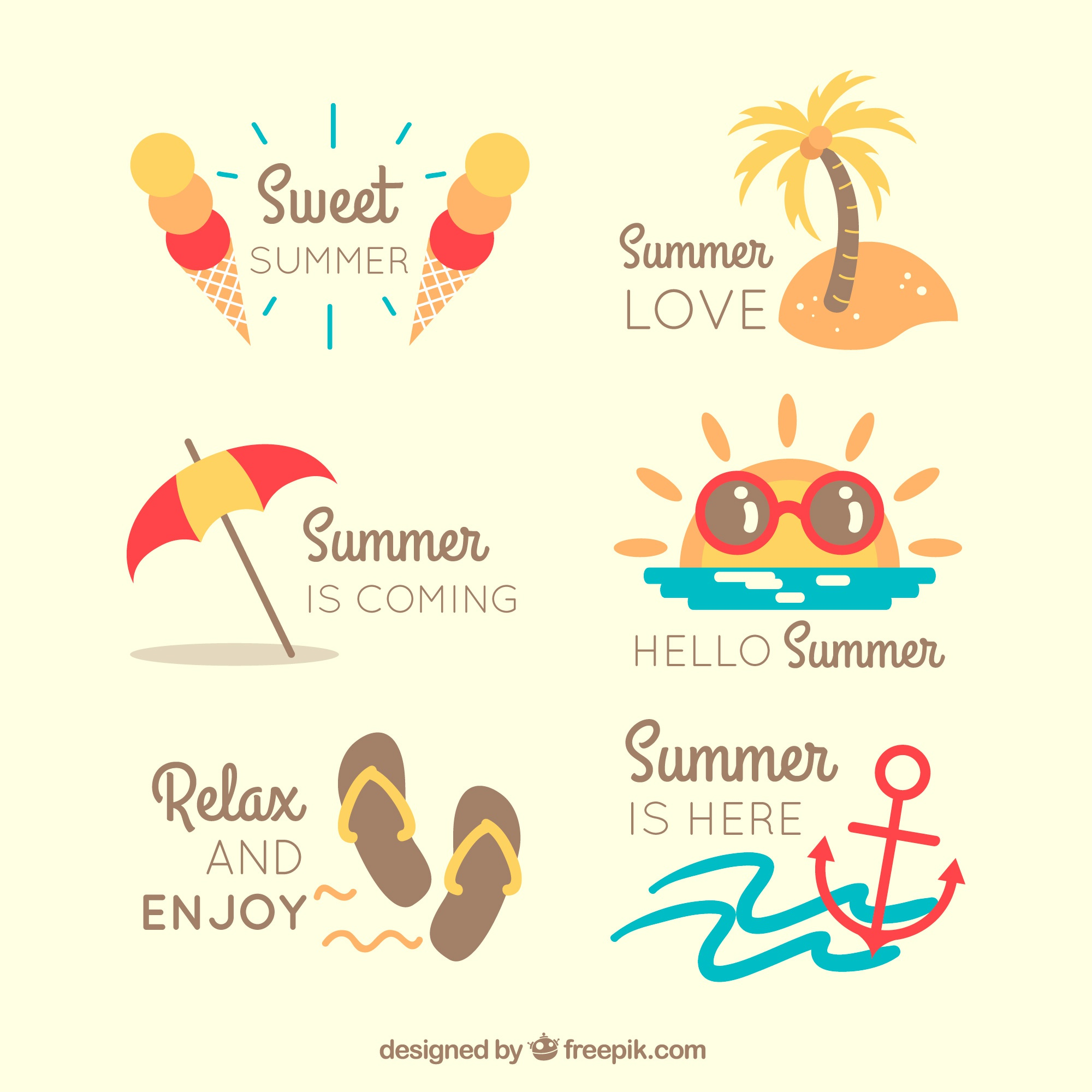 Flat collection of colored summer stickers