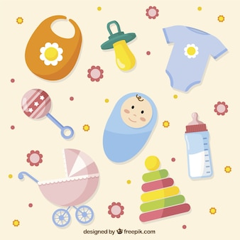 Flat collection of colorful objects for babies