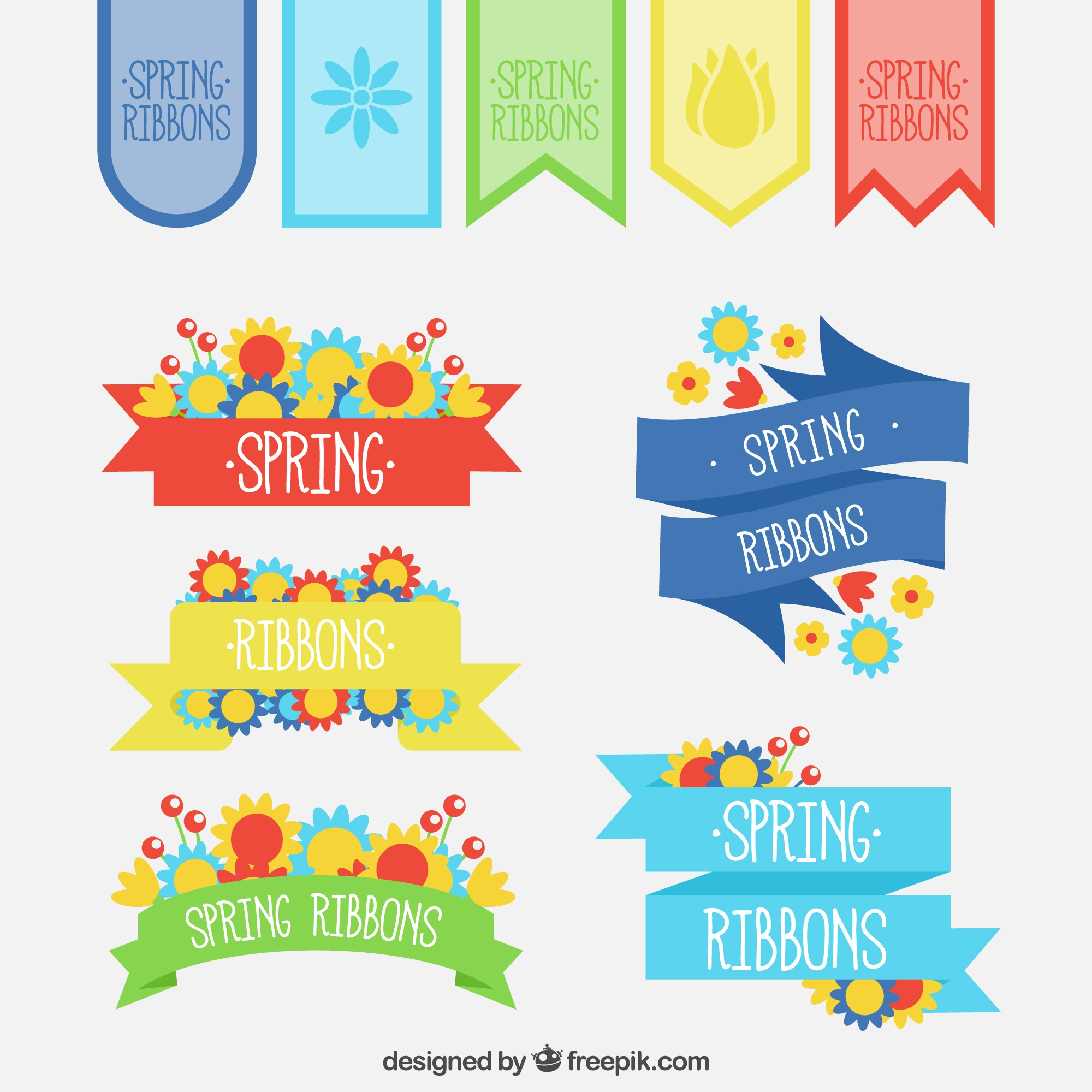 Flat collection of colorful spring ribbons