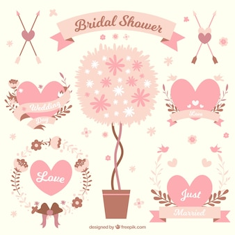 Flat collection of cute wedding ornaments