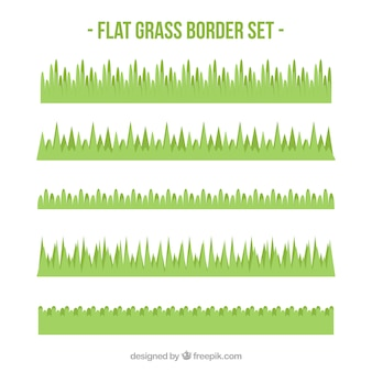 Flat collection of decorative grass borders