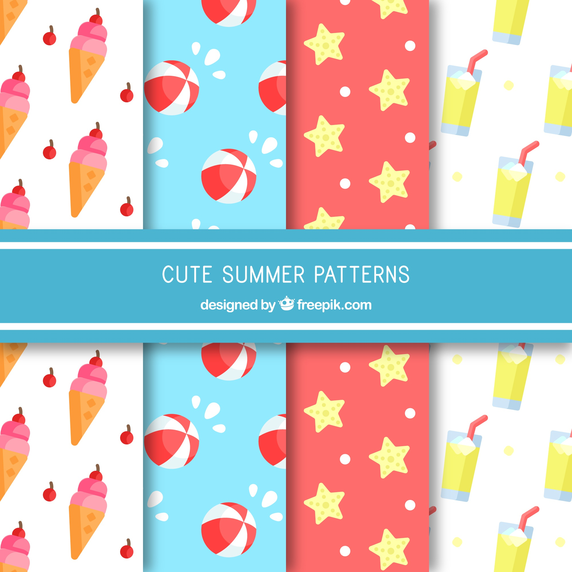 Flat collection of decorative patterns with colored summer items