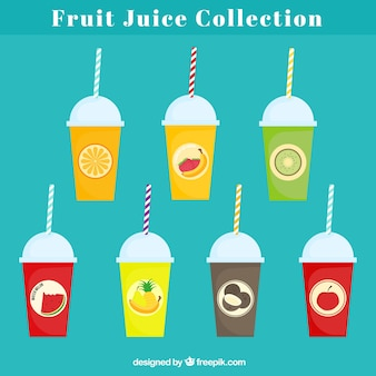 さまざまなフルーツジュースのフラットコレクション