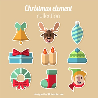 Flat collection of elements for christmas