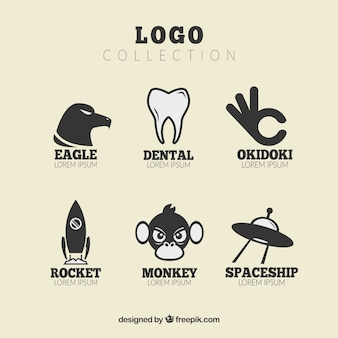 Flat collection of fantastic logos