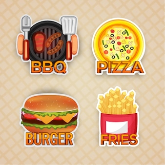 Flat collection of food stickers