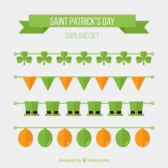 Flat collection of four garlands for st patrick's day