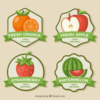 Flat collection of fruit juice stickers