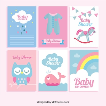 Flat collection of great baby shower cards in pastel colors