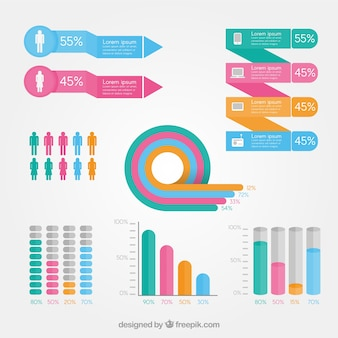 Flat collection of infographic elements in pastel colors