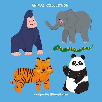 Плоская коллекция животных из джунглей
