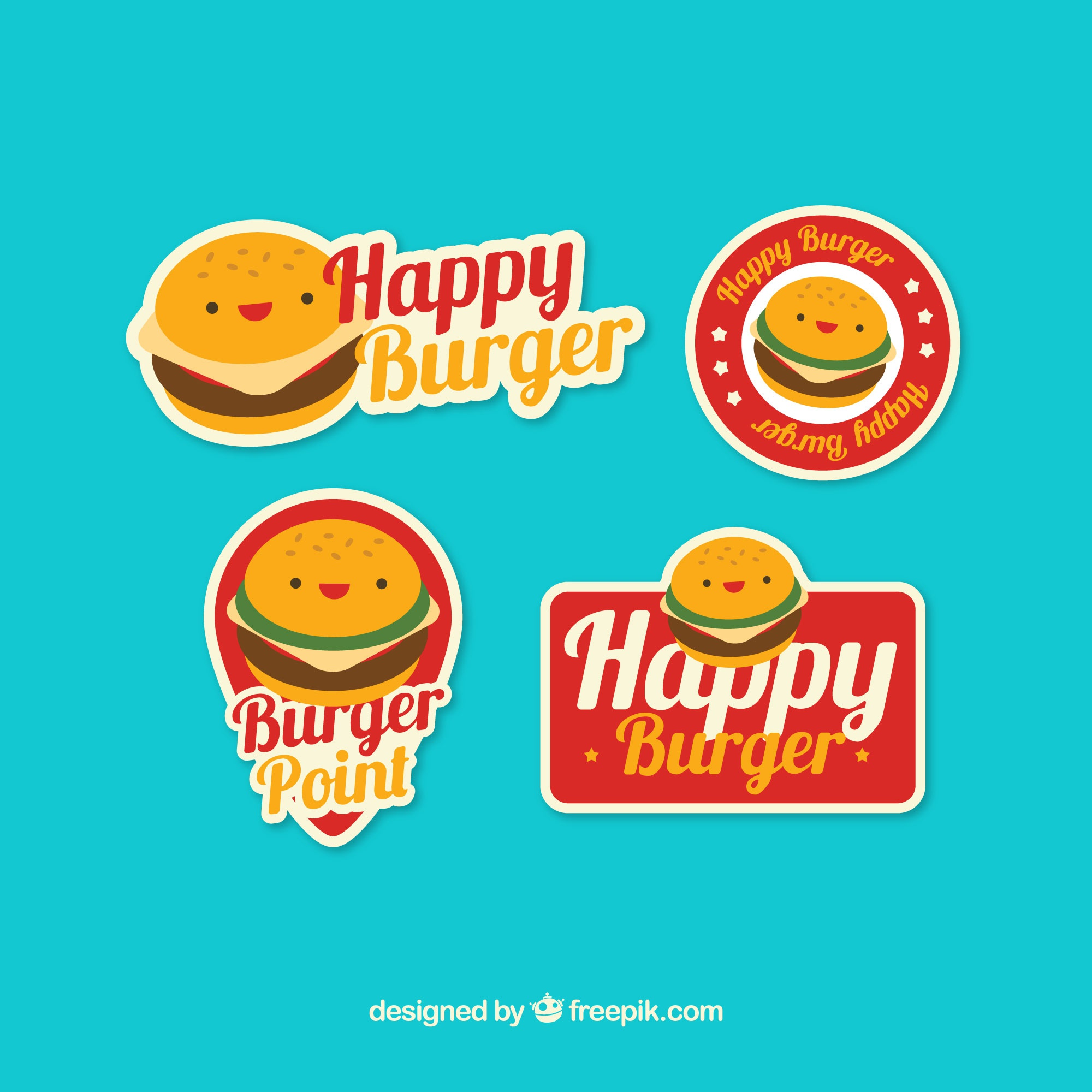Flat collection of logos with burger characters