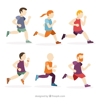 Flat collection of men running