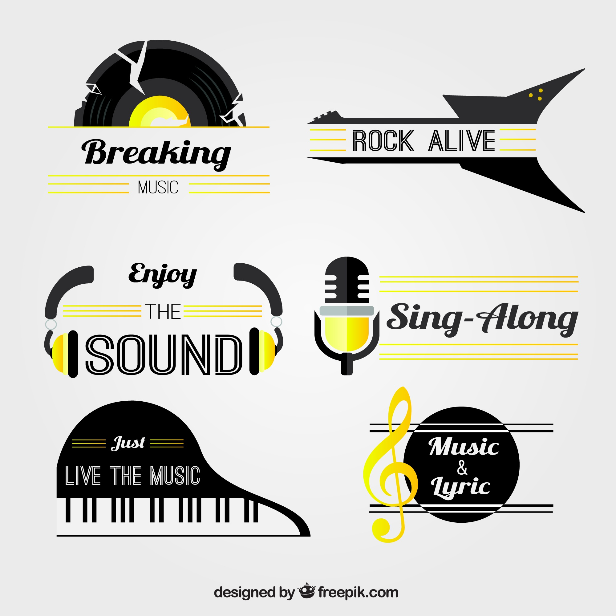 Flat collection of music stickers with yellow details