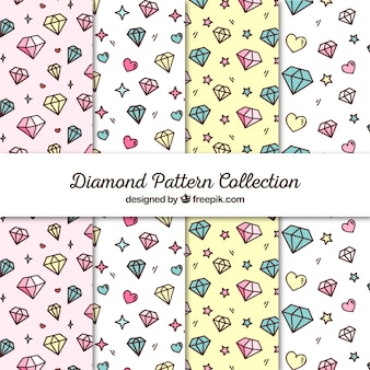 Flat collection of patterns with hearts and diamonds