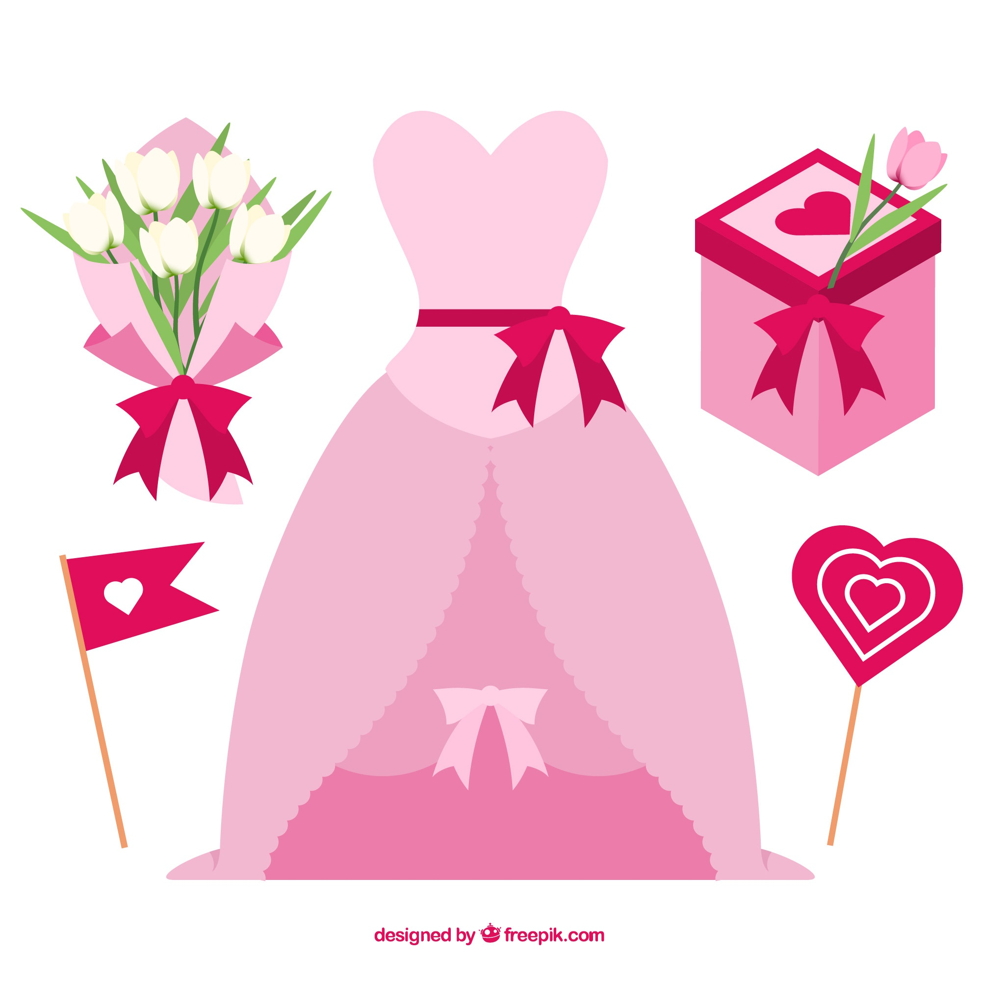 Flat collection of pink wedding elements