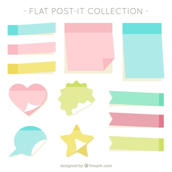 Flat collection of post-it in pastel colors
