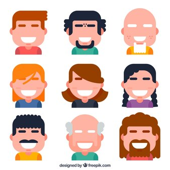 Flat collection of smiley avatars