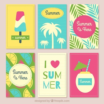 Flat collection of summer cards